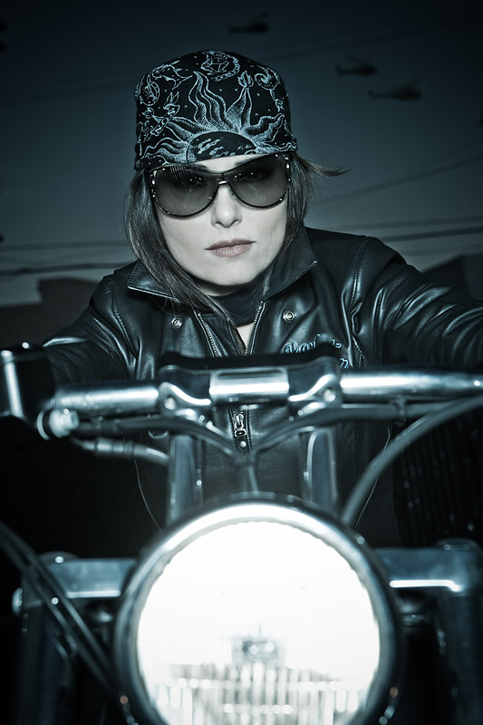 concept photography  Actress Gray Kooritzky brings her Harley to the James Hickeys Los Angeles studio for some action photos.    jh 0673 2 web