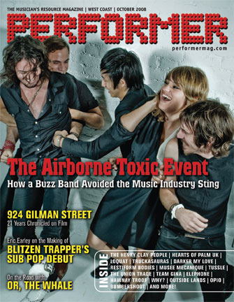 October 2008 West Coast Performer Magazine cover (photographer: James Hickey)