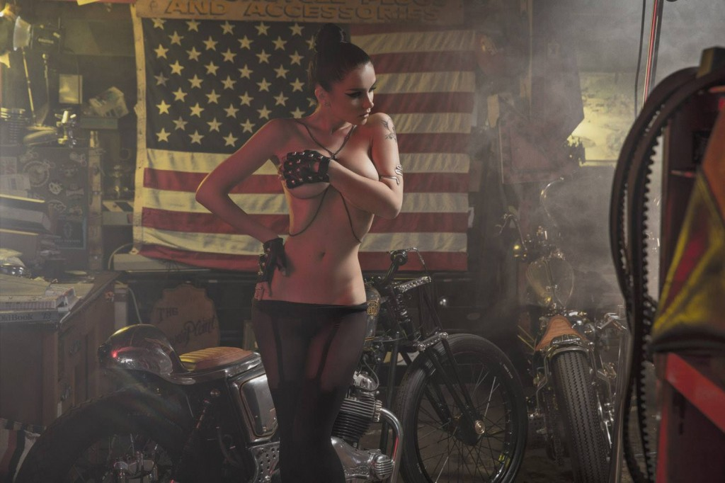 Playboy and Sons of Anarchy work with Los Angeles photographer James Hickey for a sexy biker photoshoot at Powerplant Choppers featuring Playmate Eugenia Diordiychuk