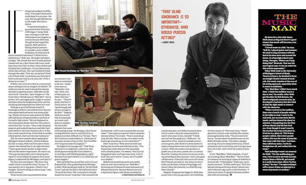James Wolk, the story in Backstage Magazine. Photo by James Hickey.