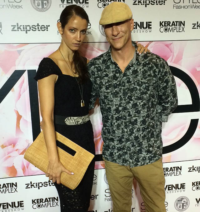Tatiana Junqueira and James Hickey of House of Hickey at LA Fashion Week, 2015.