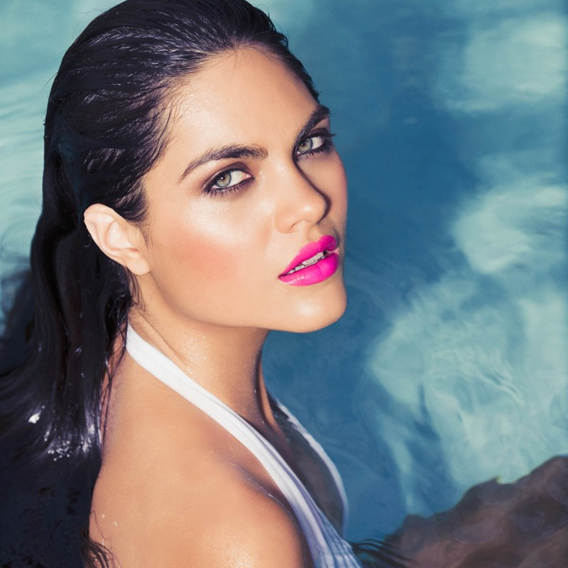 Beauty shot in the pool with model Alicia Ruelas. Makeup: Scott Barnes. Hair: Frank Galasso. Photo by James Hickey.