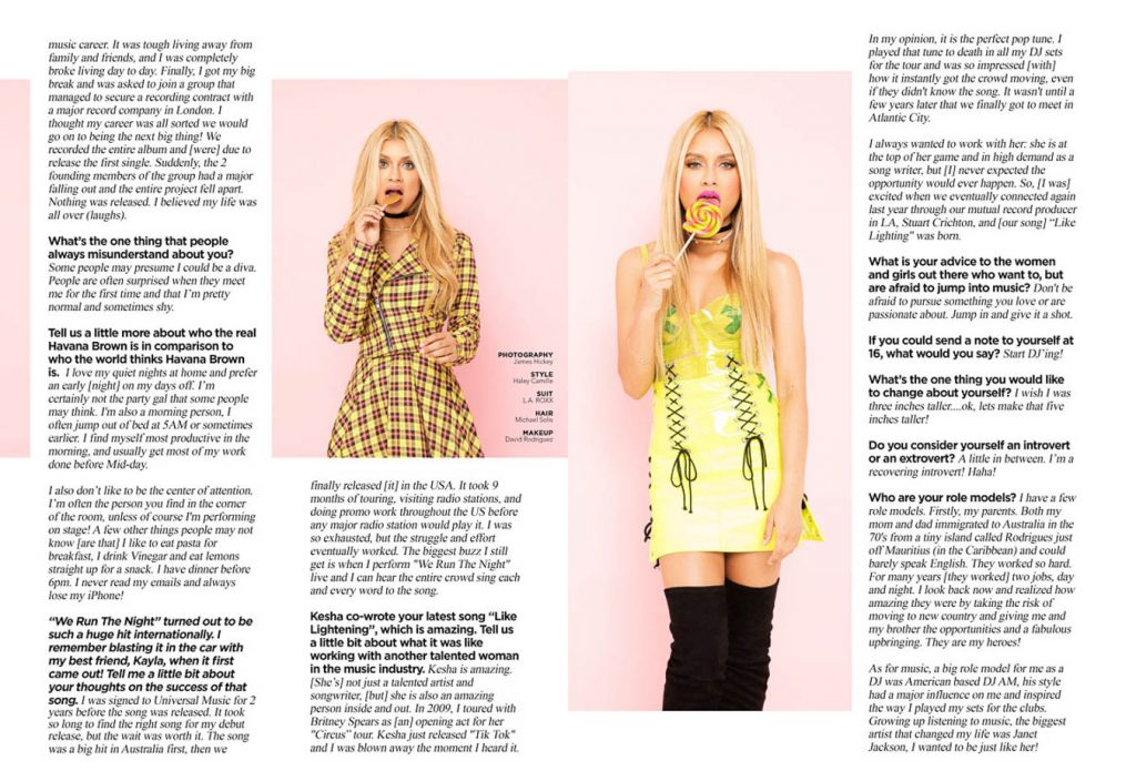 Contrast Magazine 2017 interview with Havana Brown photos by Los Angeles Musician Photographer James Hickey