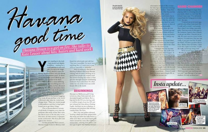 Check out the double page feature in the January 2014 issue of Australian Cosmopolitan Magazine with DJ Havana Brown and Los Angeles music photographer James Hickey