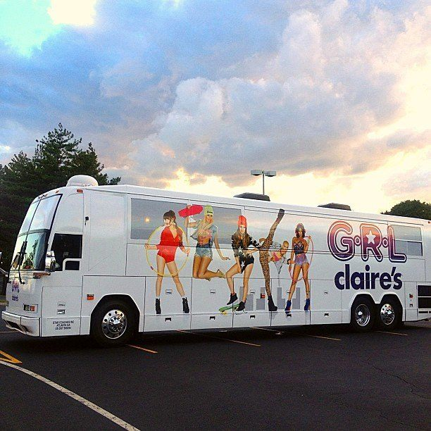 G.R.L. vacation tour bus wrap photo by James Hickey with Lauren Bennett, Natasha Slayton, Paula Van Oppen, Simone Battle and Emmalyn Estrada in Los Angeles