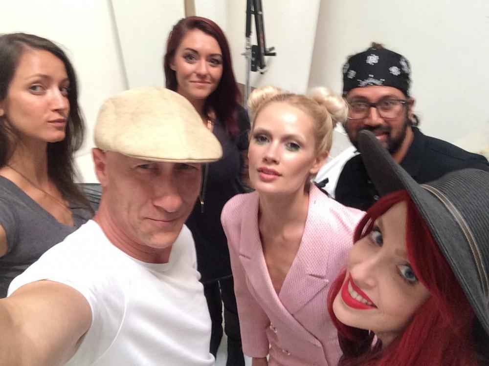 Lauren Bennett and crew Oscar selfie at James Hickey Studio. Pastel and burgundy fashion editorial.