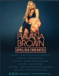 HAVANA BROWN SPRING 2017 USA TOUR poster by LOS ANGELES MUSIC PHOTOGRAPHER JAMES HICKEY